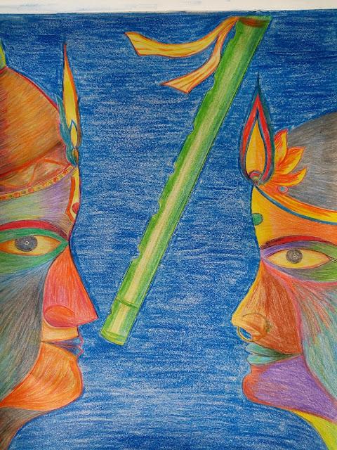 Drawing image of Lord Krishna and radha