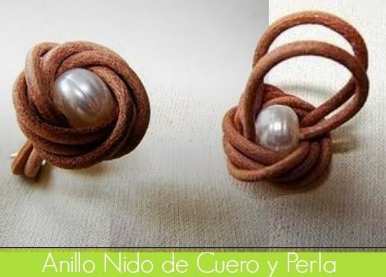 anillo, sortijas, cuero, bisutería, perlas, manualidades, diys