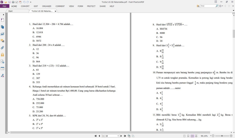 Soal Try Out Us Un Sd Matematika Yang Dilengkapi Kuci Jawaban Dan Pembahasannya