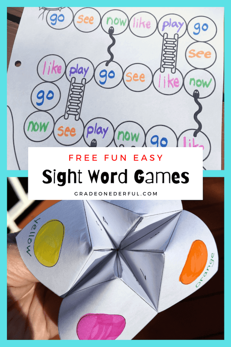 2 of My Favourite Sight Word Games for first grade. Free templates for Snakes 'n Ladders + Chatterbox, both adapted for sight word learning. Your kids will love these!