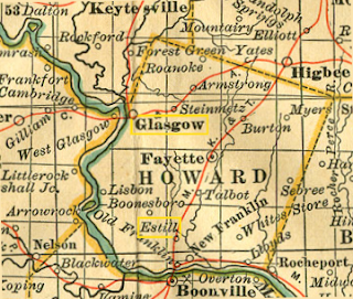 Howard County, from unidentified 1851 Missouri map.