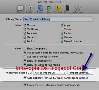 Import Settings Di iTunes MP3