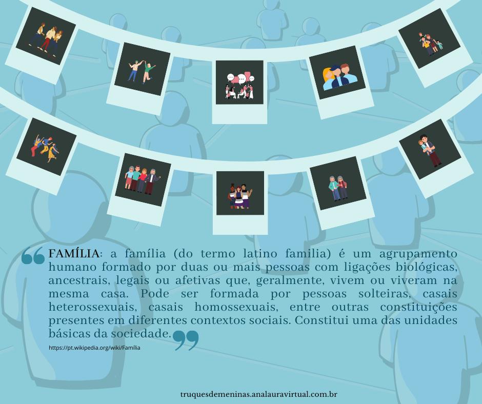 A família (do termo latino familia) é um agrupamento humano formado por duas ou mais pessoas com ligações biológicas, ancestrais, legais ou afetivas que, geralmente, vivem ou viveram na mesma casa. Pode ser formada por pessoas solteiras, casais heterossexuais, casais homossexuais, entre outras constituições presentes em diferentes contextos sociais. Constitui uma das unidades básicas da sociedade. (wiki)