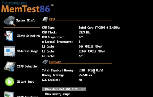 برنامج فحص الصحة RAM memtest86.