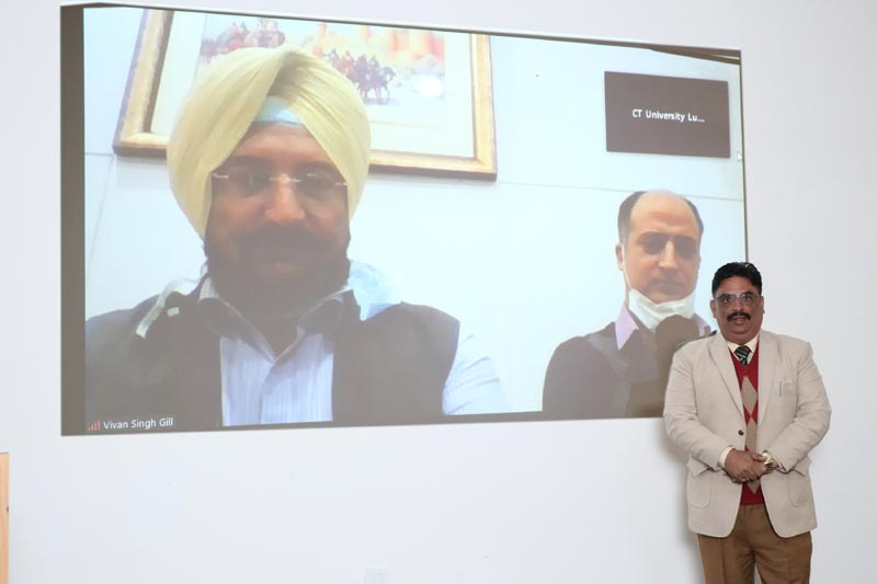 CTU Vice Chancellor Dr Harsh Sadawarti along with Vivan Singh Gill, Vice President Operations, Max Super Speciality Hospital on the screen during signing of MoU
