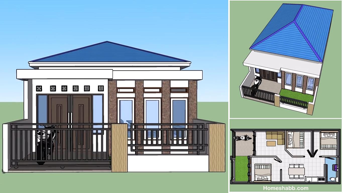 Desain Dan Denah Rumah Minimalis Ukuran 6 X 12 M Dengan 3 Kamar Tidur Walaupun Sederhana Tapi Nyaman Untuk Keluarga Homeshabby Com Design Home Plans Home Decorating And Interior Design