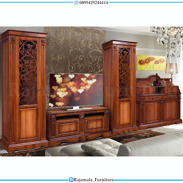 Desain Living Room Bufet TV Kayu Jati Terbaru Luxury Set RM-0392