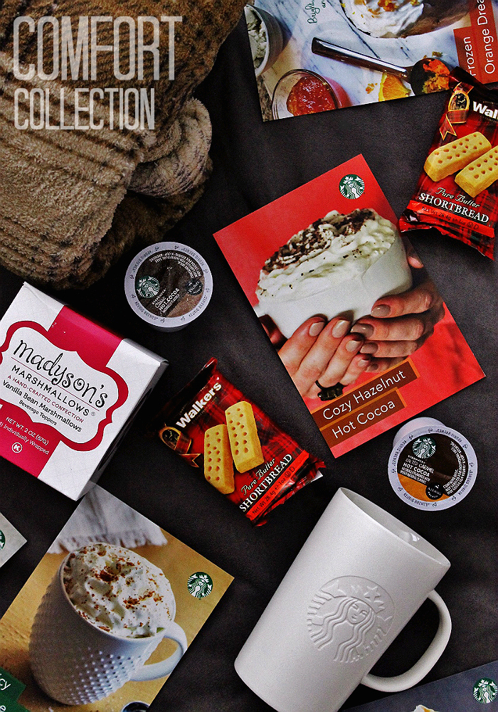 The Cozy Collection from Starbucks features new Starbucks #HotCocoa #KCup pods, a comfortable blanket, gift card, shortbread, marshmallows, and recipe cards. Enter to win one for a limited time. #IC (AD)