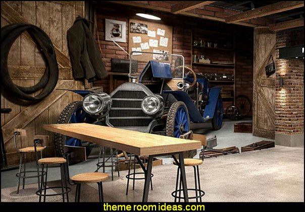Vintage car garage wallpaper mural  man cave decorating ideas - man cave decorating pictures - man cave decor - home bar decor - wine decor - beer decor - sports bar decor - big boys bedrooms - Wine Barrel furniture - man cave decorations - personalized man cave decor