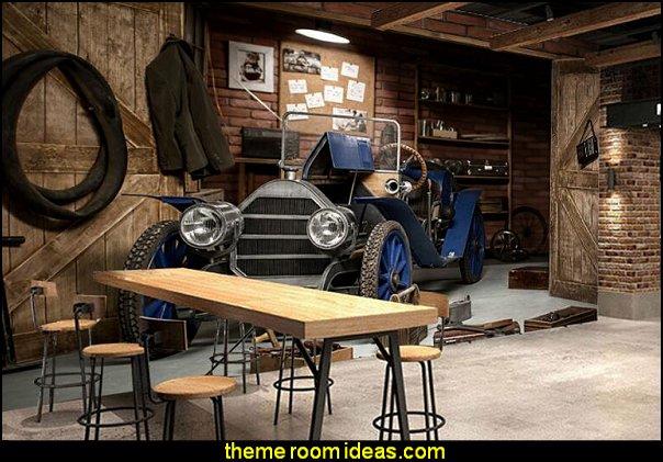 Vintage car garage wallpaper mural  man cave decorating ideas - man cave decorating pictures - man cave decor - home bar decor - wine decor - beer decor - sports bar decor - big boys bedrooms - Wine Barrel furniture - man cave decorations - personalized man cave decor