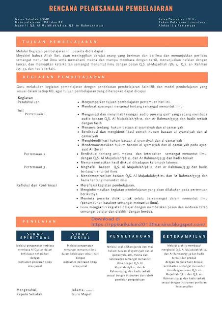 RPP 1 Lembar  SMP PAI dan BP Kelas VII Tahun 2020/2021