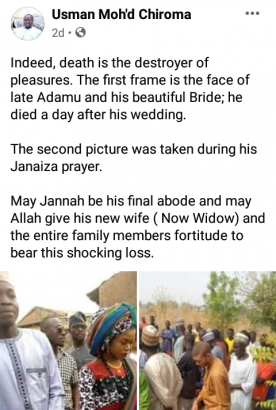 Sad! Man dies a day after his wedding in Niger state