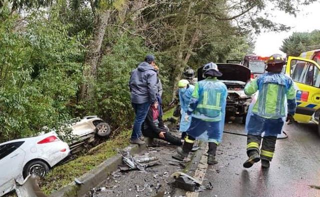 Accidente: triple colisión vehicular en la Ruta U-55