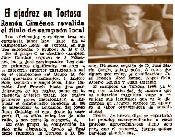 Ajedrez en Tortosa, recorte de El Mundo deportivo, 1944