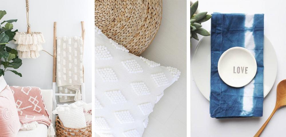 textiles y cojines decorativos estilo boho y dip dye