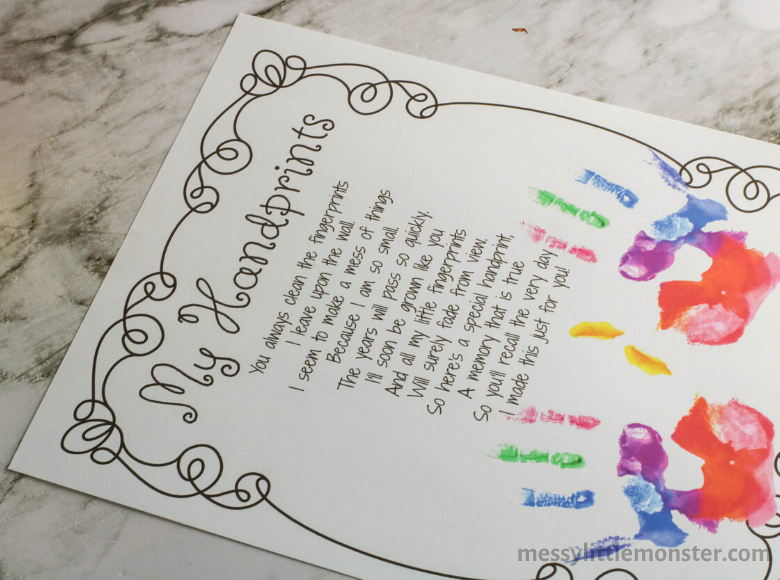 Handprint poem for preschool graduation