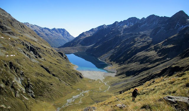 The natural lake is clean like distilled water in New Zealand