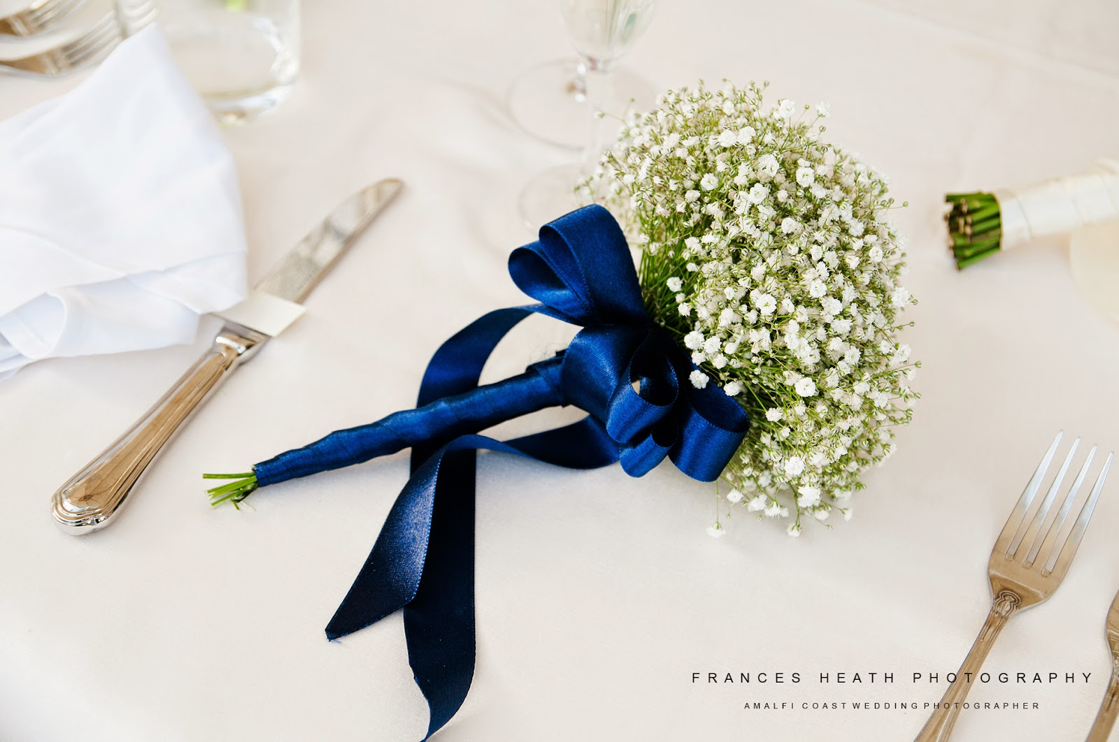 Bouquet at wedding reception in Positano