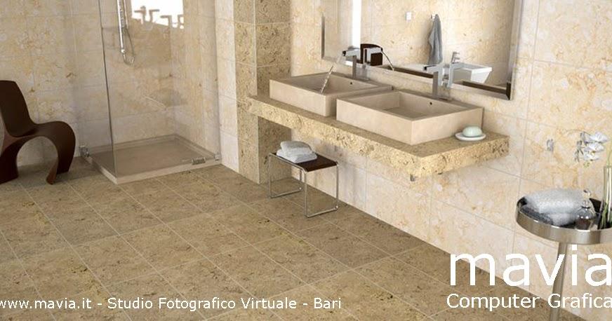 Arredamento di interni Rendering 3d interni  Arredo bagno in pietra bagno in muratura con