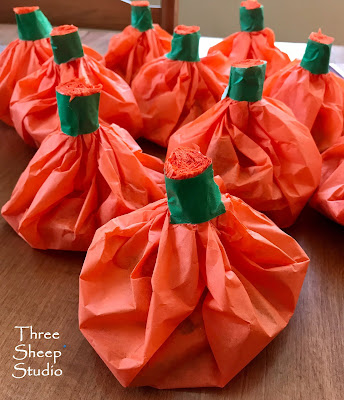 Tissue Paper Pumpkins filled with candy treats
