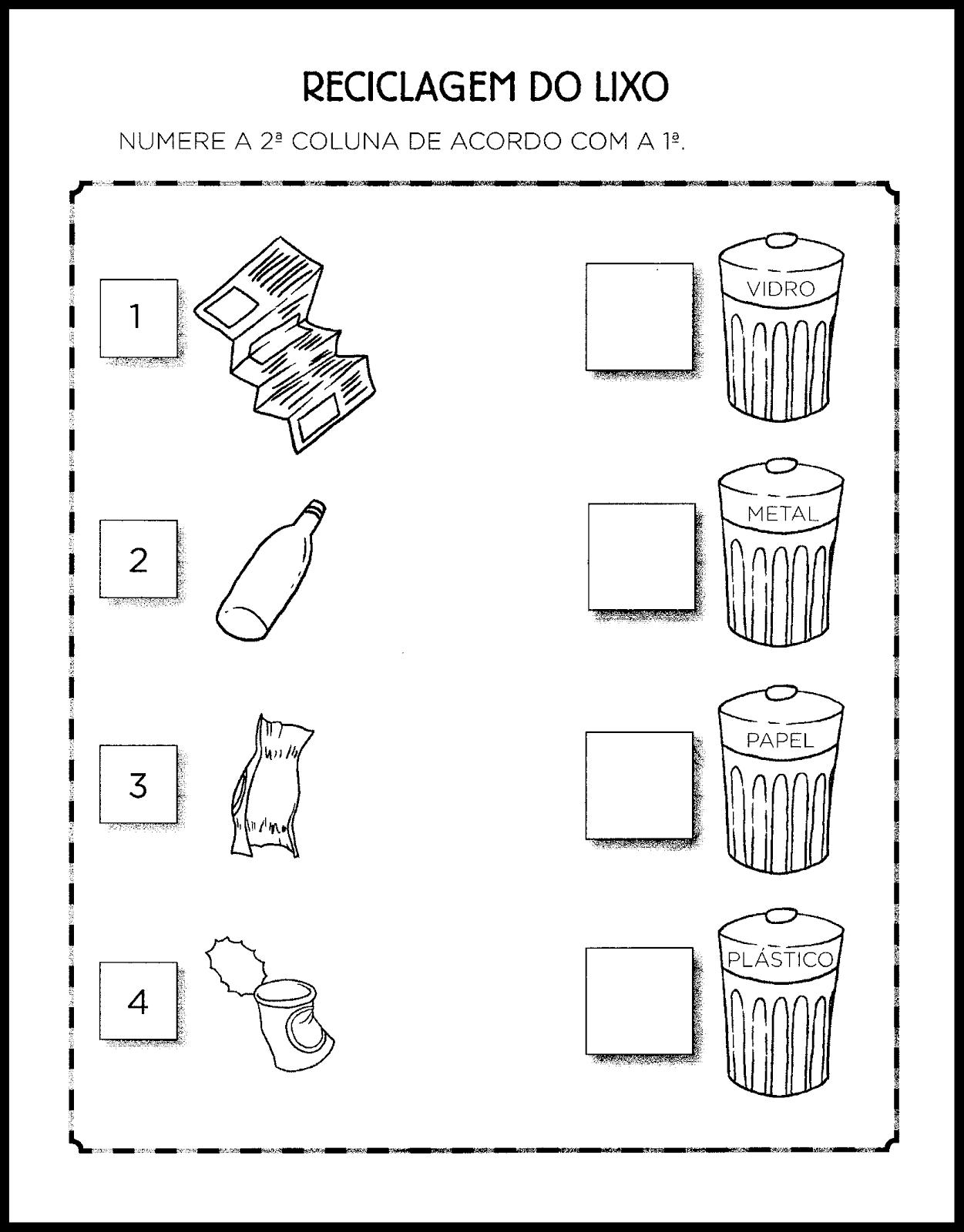 Atividades Sobre Reciclagem Do Lixo Para Educacao Infantil So Escola