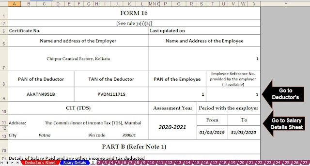 Automated Income Tax Master of Form 16 Part B with Form 12 BA for F.Y. 2019-20 With Tax Benefits from Pension Fund U/s 80CCD(1), 80CCD(2) and 80CCD(1B) 3