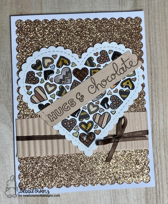Hugs & Chocolate by Debbie features Heartfelt, Heart Frames, Frames & Flags, and Love & Chocolate by Newton's Nook Designs; #newtonsnook, #inkypaws, #valentinescard, #cardmaking