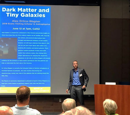 Alex Drlika-Wagner presents the 2018 Evans Visiting Scholar Lecture at UCI (Source: Palmia Observatory)