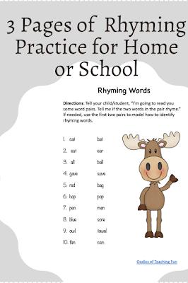 rhyming words practice