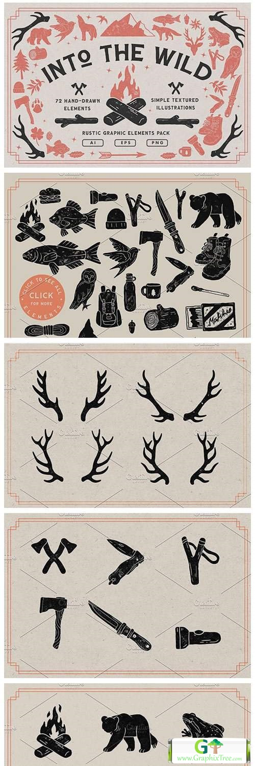 Handcrafted Vintage Rustic Elements [Vector] [3D And Element Object & Web]