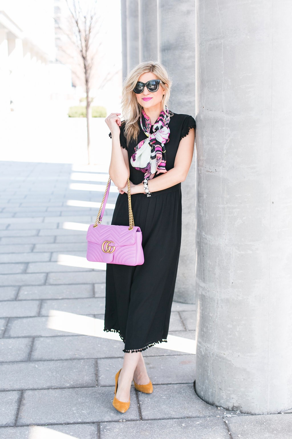 Bijuleni - GG marmont Matelasse Shoulder Bag, Zara Jumpsuit, Ted Baker big bow scarf