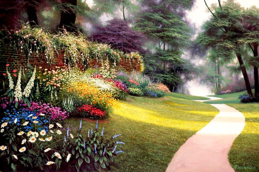 Im genes arte pinturas vistas paisajes con jardines - Paisajes de jardines ...