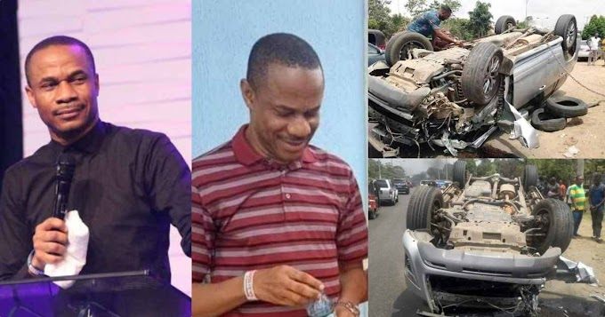 See as Pastor survives horrible car accident without a scratch in Uyo (Photos)