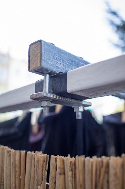 DIY Aufhängung für Wäscheleine Torbandschrauben