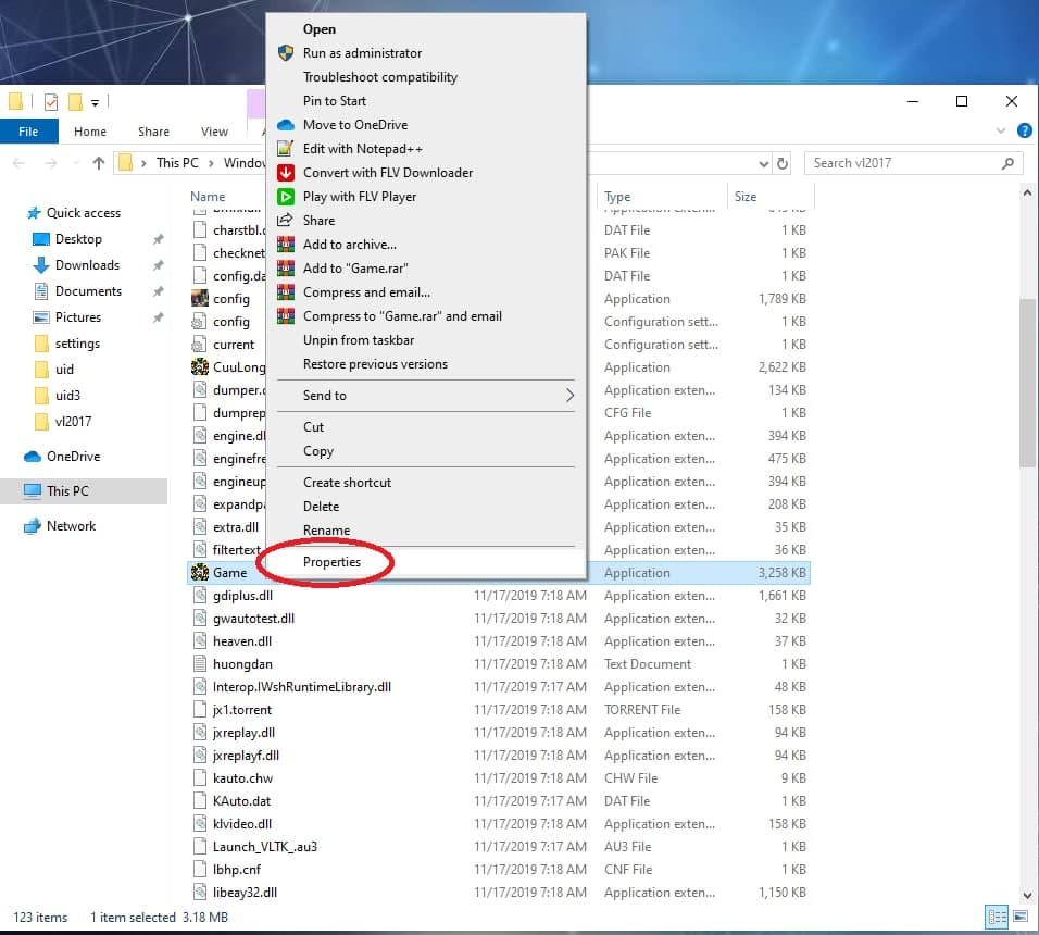 Click chuột phải vào file Game.exe, sau đó chọn Properties