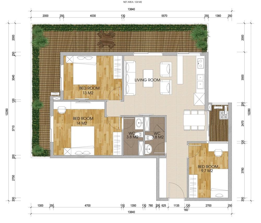 Thiết kế loại căn ban công rộng chung cư The Two Gamuda