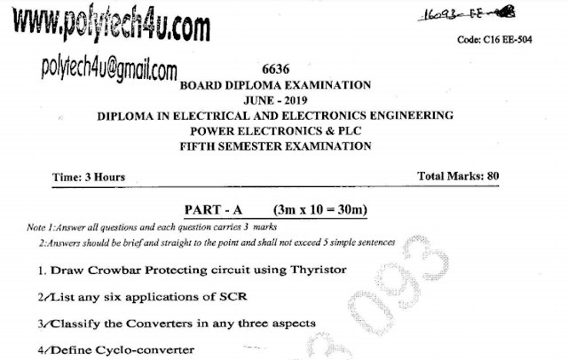 SBTET AP C16 POWER ELECTRONICS & PLC PREVIOUS QUESTION PAPER