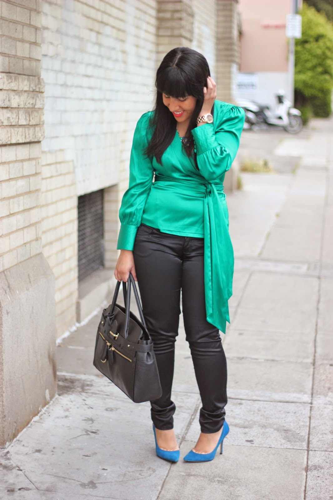 Green DVF Wrap Top