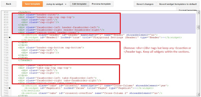 Finding sections of div tags to remove for Bootstrap in Blogger