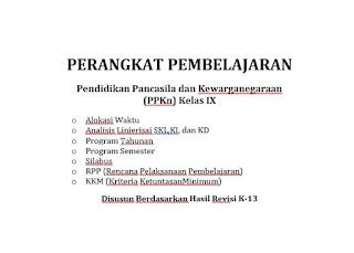 Perangkat Pembelajaran PKn Kelas 9 Kurikulum 2013 (Revisi Terbaru)