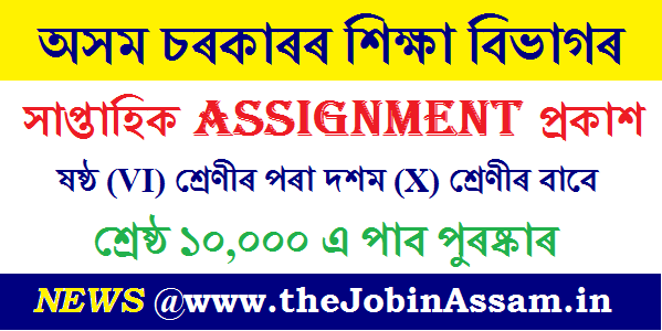 Education Department, Assam release Weekly Assignment For Class VI To X Students