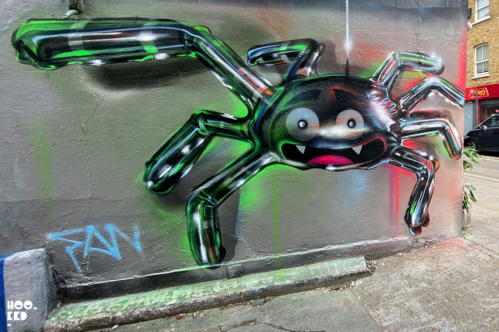 3D Spider Ballon graffiti painted on Brick Lane by artist Fanakapan
