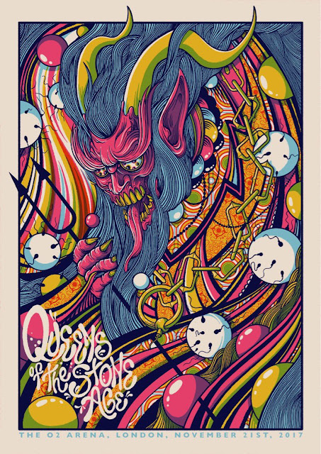 Queens of the Stone Age Live o2 arena poster drew millward