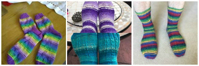 A collage photo showing four pairs of socks. There is one pair on the left, two pairs in the middle and one pair on the right.