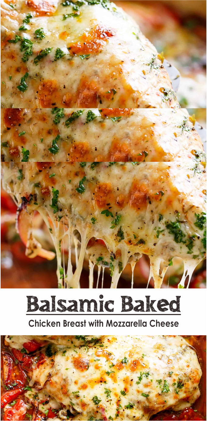 Balsamic Baked Chicken Breast With Mozzarella Cheese Think Food
