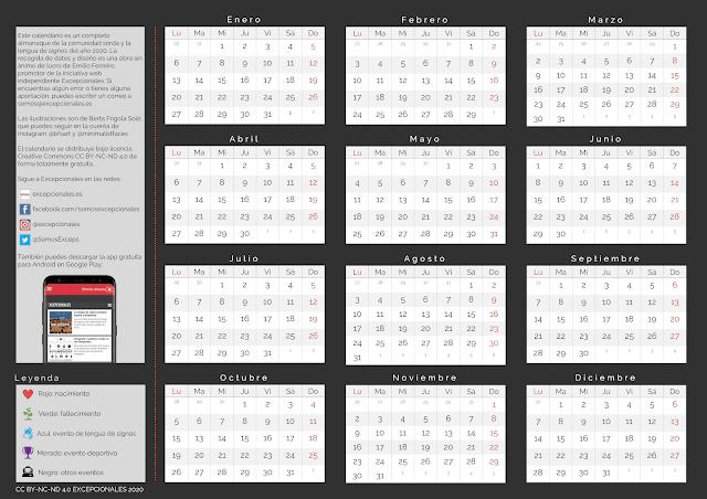 Calendario Excepcionales 2020