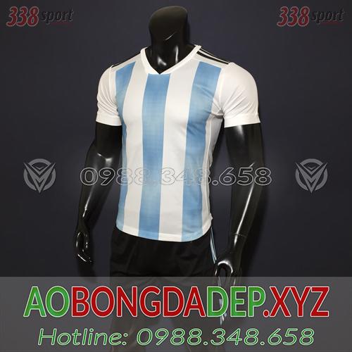 Áo Ko Logo Argentina 2018 Màu Trắng Xanh Đẹp