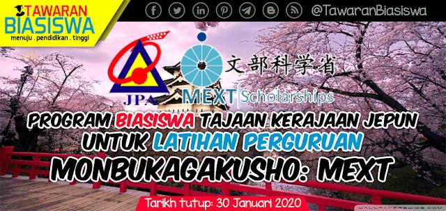 Permohonan Biasiswa Kerajaan Jepun Untuk Latihan Perguruan (Monbukagakusho: MEXT) 2020