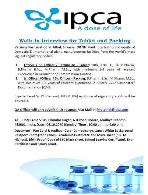 IPCA labs | Walk-in interview for Tablet/Packing on 4 Oct 2020 at Indore