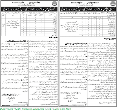 100+ Junior Clerk Posts in Sindh Police November 2020 - Download Application forms for Latest Junior Clerk Posts in Sindh Police November 2020